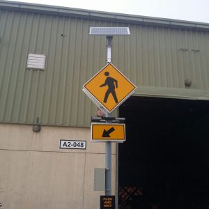 Solar Traffic Pedestrian Sign with Push Button 6100